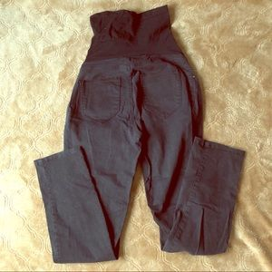 Black wash full panel maternity pants